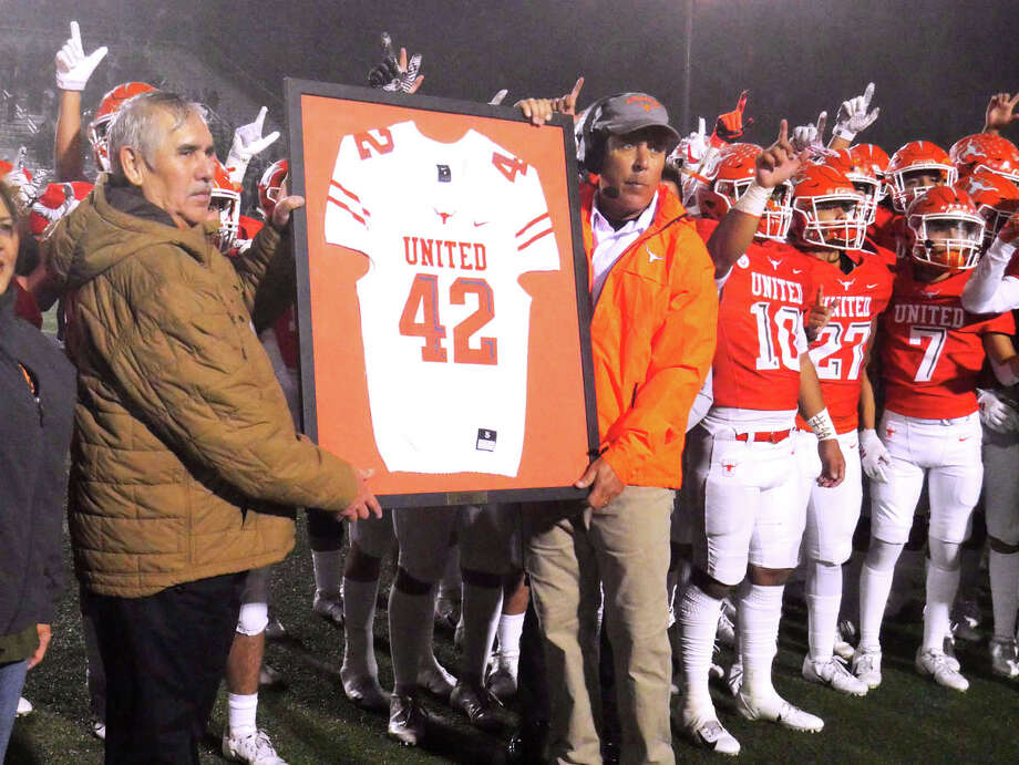 United High School players, coaches and administrators retire the jersey of United High School football player Jalen Garcia during halftime of the United versus Alexander football game, November, 7, 2019 at the United ISD SAC. Photo: Cuate Santos/Laredo Morning Times