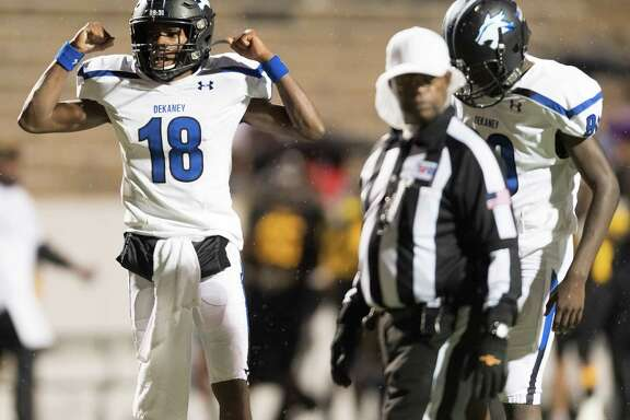 Daelyn Williams (18) of the Dekaney Wildcats celebrates his touchdown in the second half against the Eisenhower Eagles in a high school football game on Thursday, November 7, 2019 at Thorne Stadium in Houston Texas.
