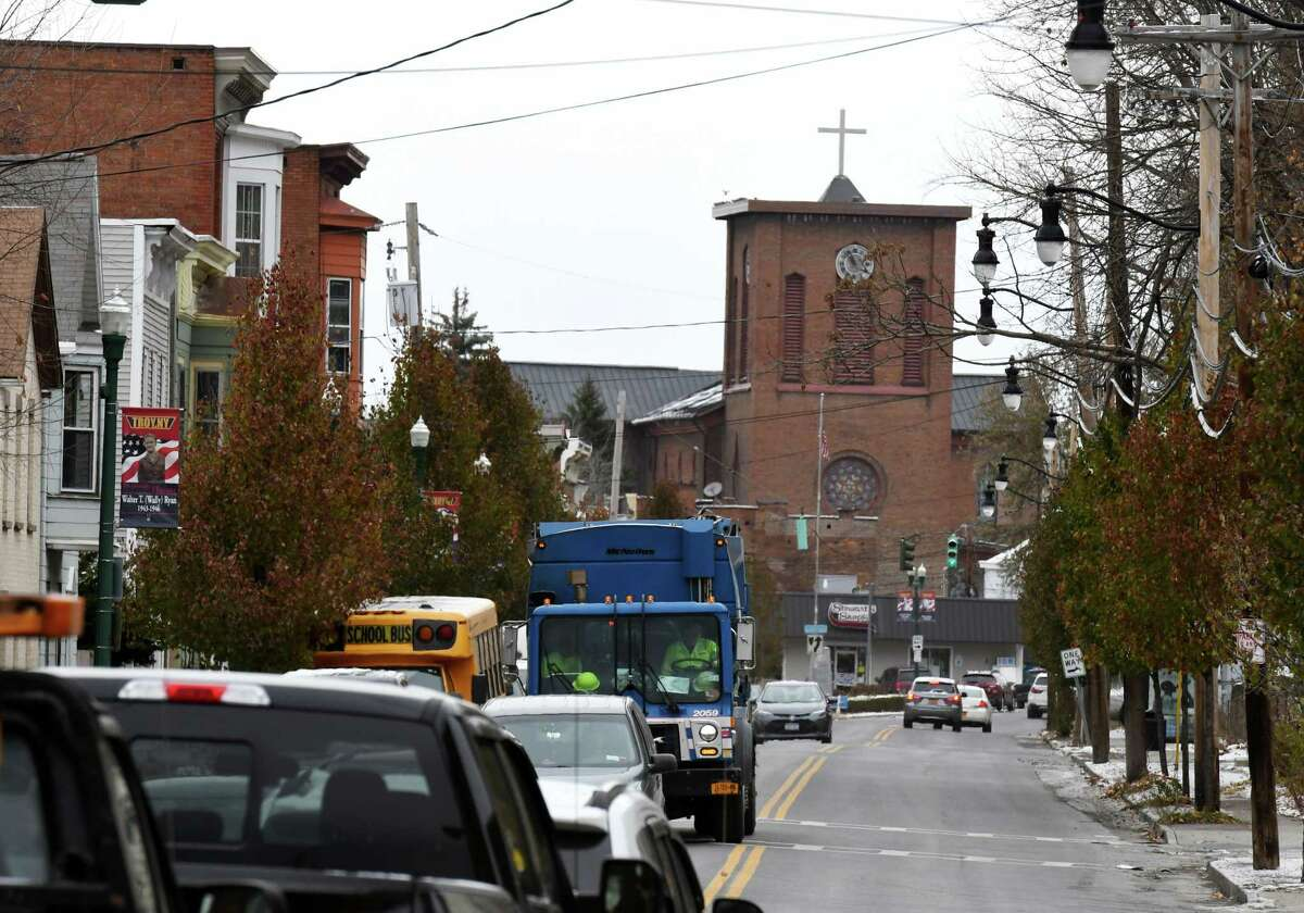 Traffic moves along Fourth Street on Thursday, Nov. 14, 2019, in Troy, N.Y. Troy's $10 million South Troy Industrial Road design aims to get tractor trailers off neighborhood streets and spur economic development. (Will Waldron/Times Union)