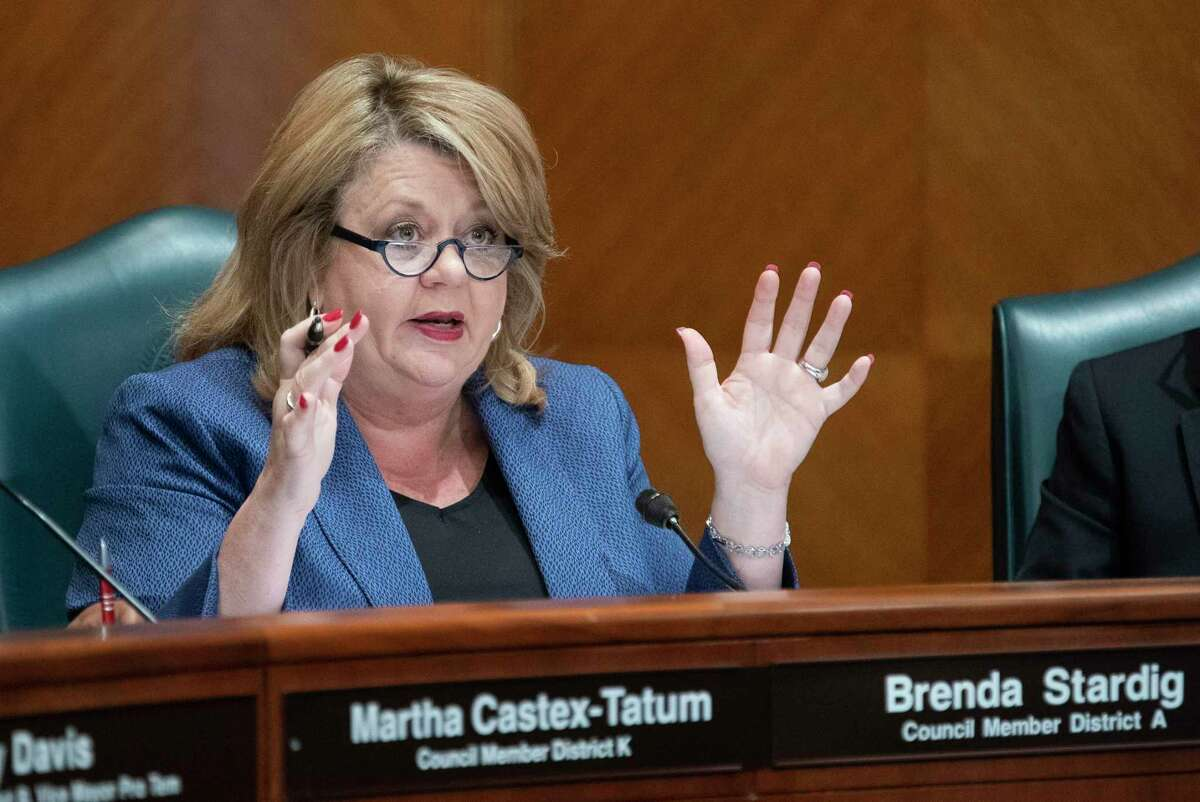 Councilwoman Brenda Stardig addresses an ethics panel that called Houston Fire Department Chief Sam Pena to speak about a plan to demote firefighters at City Hall in Houston, Monday, April 29, 2019.
