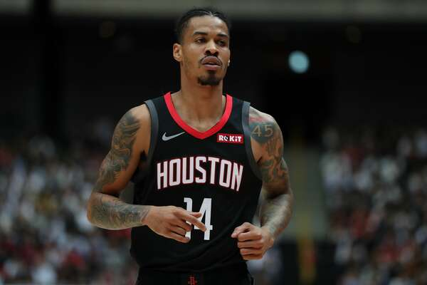 SAITAMA, JAPAN - OCTOBER 10: Gerald Green #14 of Houston Rockets looks on during the preseason game between Toronto Raptors and Houston Rockets at Saitama Super Arena on October 10, 2019 in Saitama, Japan. NOTE TO USER: User expressly acknowledges and agrees that, by downloading and/or using this photograph, user is consenting to the terms and conditions of the Getty Images License Agreement. (Photo by Takashi Aoyama/Getty Images)