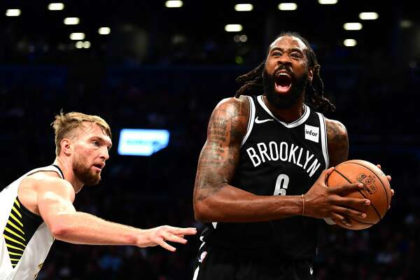 NEW YORK, NEW YORK - OCTOBER 30: DeAndre Jordan #6 of the Brooklyn Nets reacts during the second half of their game against the Indiana Pacers at Barclays Center on October 30, 2019 in the Brooklyn borough of New York City. NOTE TO USER: User expressly acknowledges and agrees that, by downloading and or using this Photograph, user is consenting to the terms and conditions of the Getty Images License Agreement. (Photo by Emilee Chinn/Getty Images)