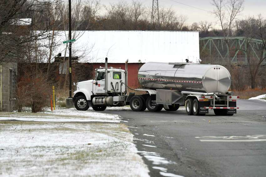 Approval to use a thin strip of land owned by Rensselaer County, left, is holding up development of Troy's $10 million South Troy Industrial Road design on Thursday, Nov. 14, 2019, on Industrial Pkwy across from the Rensselaer County Correctional Facility in Troy, N.Y. The project aims to get tractor trailers off neighborhood streets and spur economic development. (Will Waldron/Times Union)