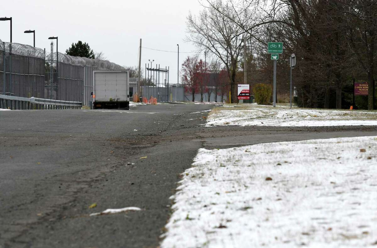 Approval to use a thin strip of land owned by Rensselaer County, lower right, is holding up development of Troy's $10 million South Troy Industrial Road design on Thursday, Nov. 14, 2019, on Industrial Pkwy across from the Rensselaer County Correctional Facility in Troy, N.Y. The project aims to get tractor trailers off neighborhood streets and spur economic development. (Will Waldron/Times Union)