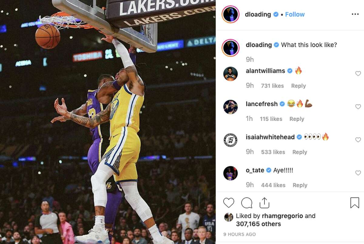 D'Angelo Russell posted a photo to Instagram of him appearing to dunk on LeBron James.