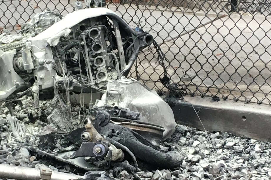 The aftermath of a fatal collision between a motorcyclist and a SMART Train in Santa Rosa on Wednesday, Nov. 13, 2019. Photo: Santa Rosa Police Department