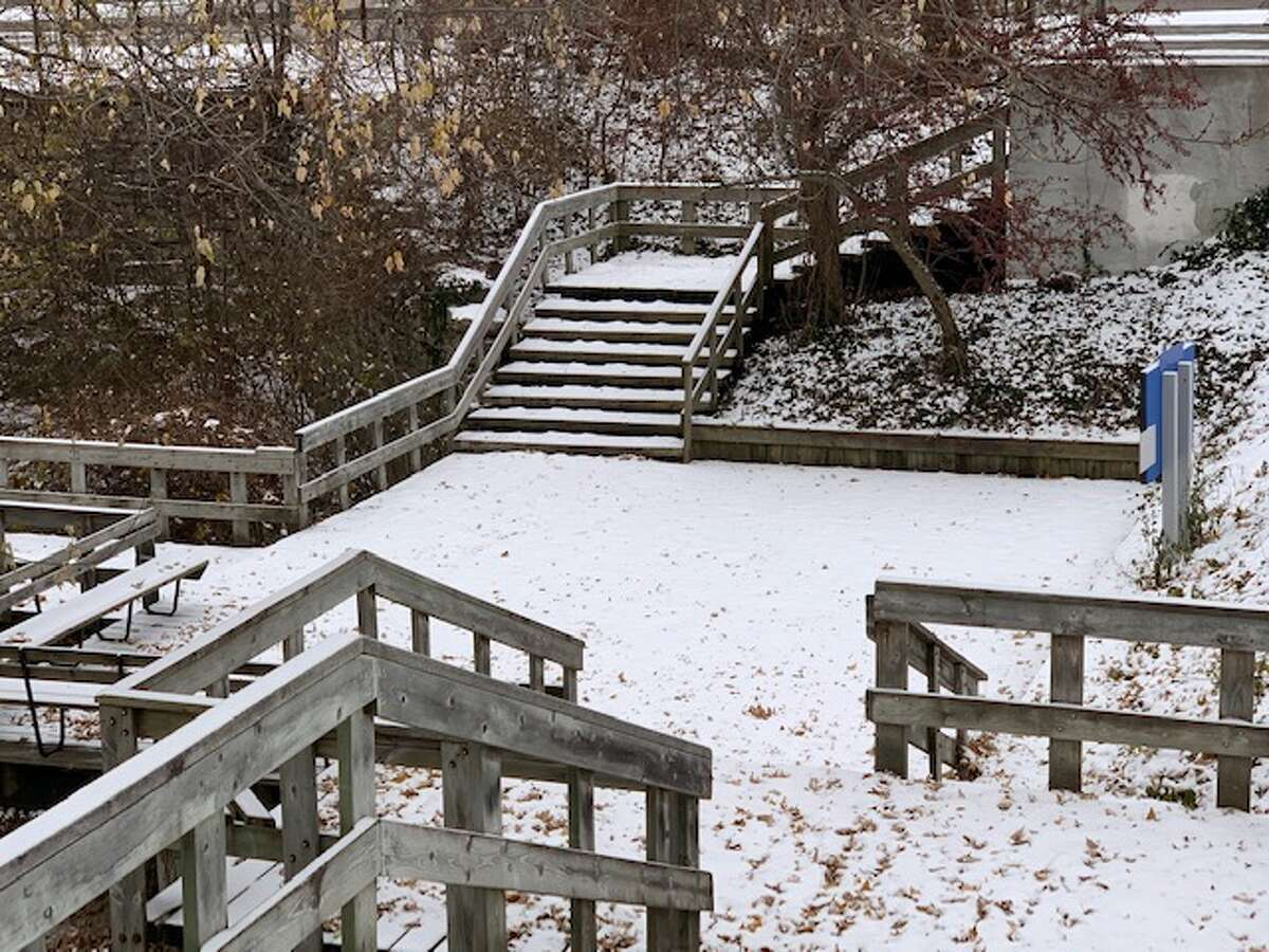 Scenes of Mitchell Creek in Big Rapids with the snowfall covering the ground on November 14.