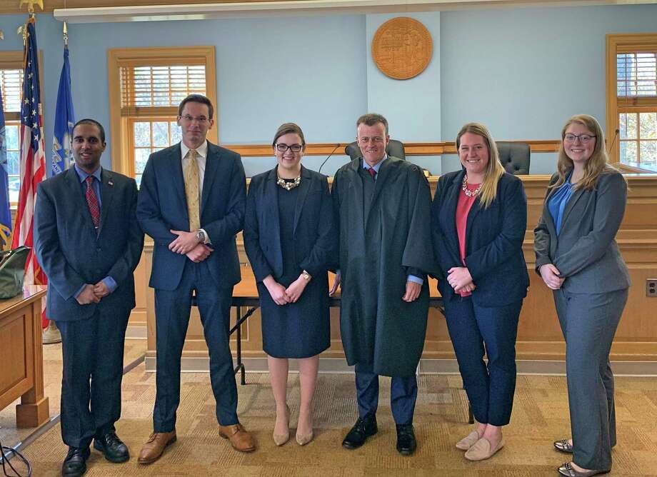 Trumbull Probate Judge T.R. Rowe recently hosted students from the Quinnipiac law school's Probate Journal for a day of hearings. Photo: Submitted