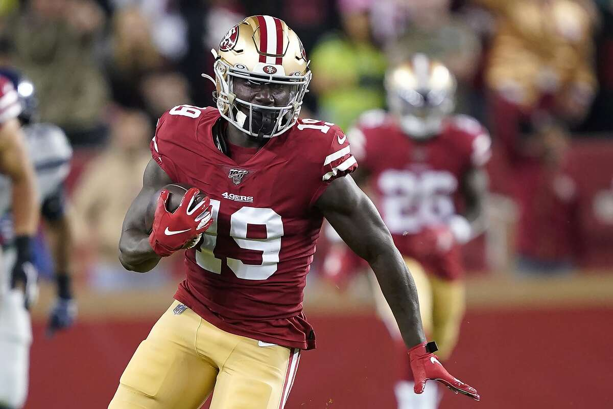 San Francisco 49ers wide receiver Deebo Samuel (19) runs against the Seattle Seahawks during the first half of an NFL football game in Santa Clara, Calif., Monday, Nov. 11, 2019.