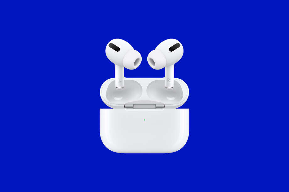 AirPods Pro are on sale on Amazon right now, and you can get even bigger discounts through credit card rewards program promotions, too. Photo: Apple/SFGATE