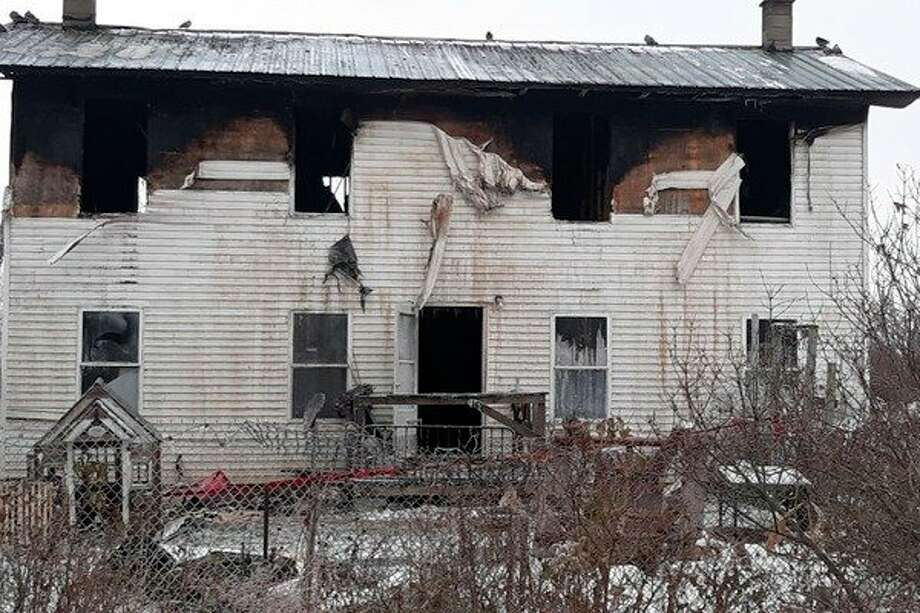 The Theresa Steffen farmhouse after the fire. (Photo provided/Go Fund Me page)