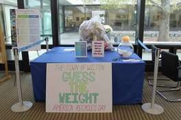 Aaila Abdul-Khaliq won the Guess the Weight of the Bag of Recyclables with a guess of 20 pounds. The bag actually weighed 20.6. Aaila will receive a Wilton Chamber of Commerce gift certificate. The bag was on display at Wilton Library and the contest ended on Nov. 15, America Recycles Day.