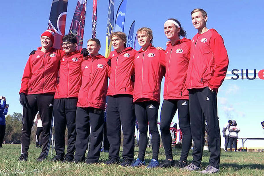 """On Thursday the Ohio Valley Conference announced that the SIUE men's team (shown at a recent meet), is the recipient of the 2019-20 Team Sportsmanship Awards for cross country. The 2019-20 school year marks the 15th year the team sportsmanship honors have been awarded. It marks the second consecutive award for the SIUE men's program. Voted on by the student-athletes and coaches of the respective sports, the team awards are bestowed upon the Conference squads deemed to have best exhibited the standards of sportsmanship and ethical behavior as outlined by the OVC and NCAA. Included in the areas for evaluation are the conduct of student-athletes, coaches, staff and administrators and fans. """"Without sportsmanship there are truly no meaningful victories,"""" OVC Commissioner Beth DeBauche said. """"The recipients of the OVC Team Sportsmanship awards should accept this award with great pride for their fellow competitors have made it clear their teams exemplify the best in intercollegiate athletics."""" Photo: SIUE Athletics"""