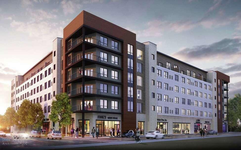 The apartment building at Quackenbush Square, Albany.