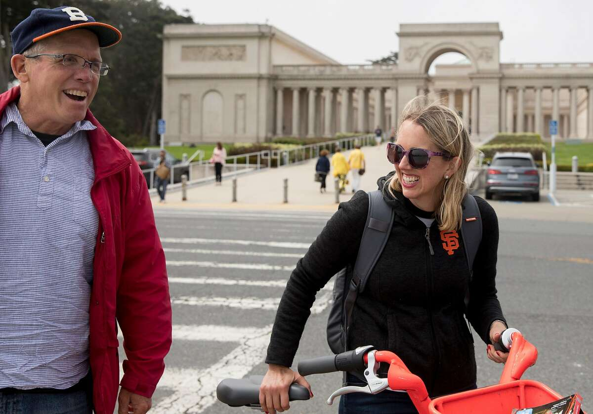 San Francisco Chronicle reporter Heather Knight laughs with Western Neighborhood Project director David Gallagher outside the Legion of Honor in San Francisco.