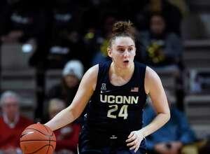 UConn guard Anna Makurat plays against Vanderbilt during the second half of a women's NCAA basketball game Wednesday, Nov. 13, 2019, in Nashville, Tenn.