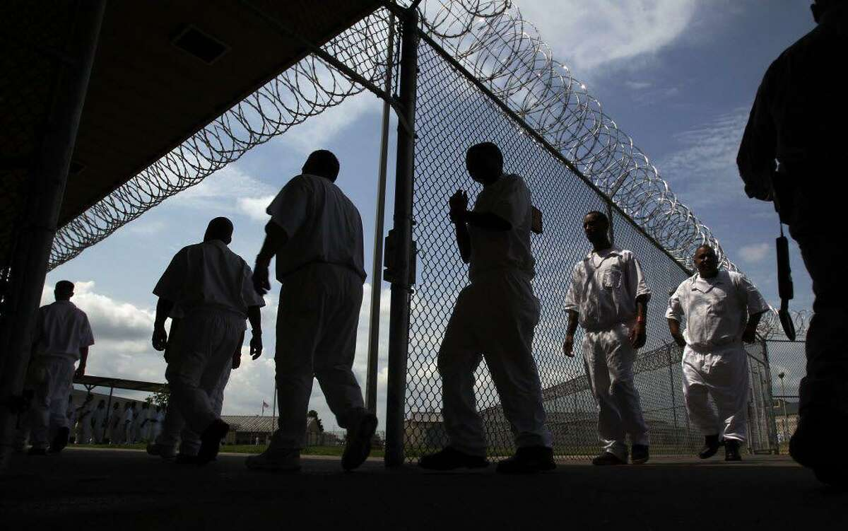 Inmates at the state prison system's L.V. Hightower Unit in Dayton, Texas.