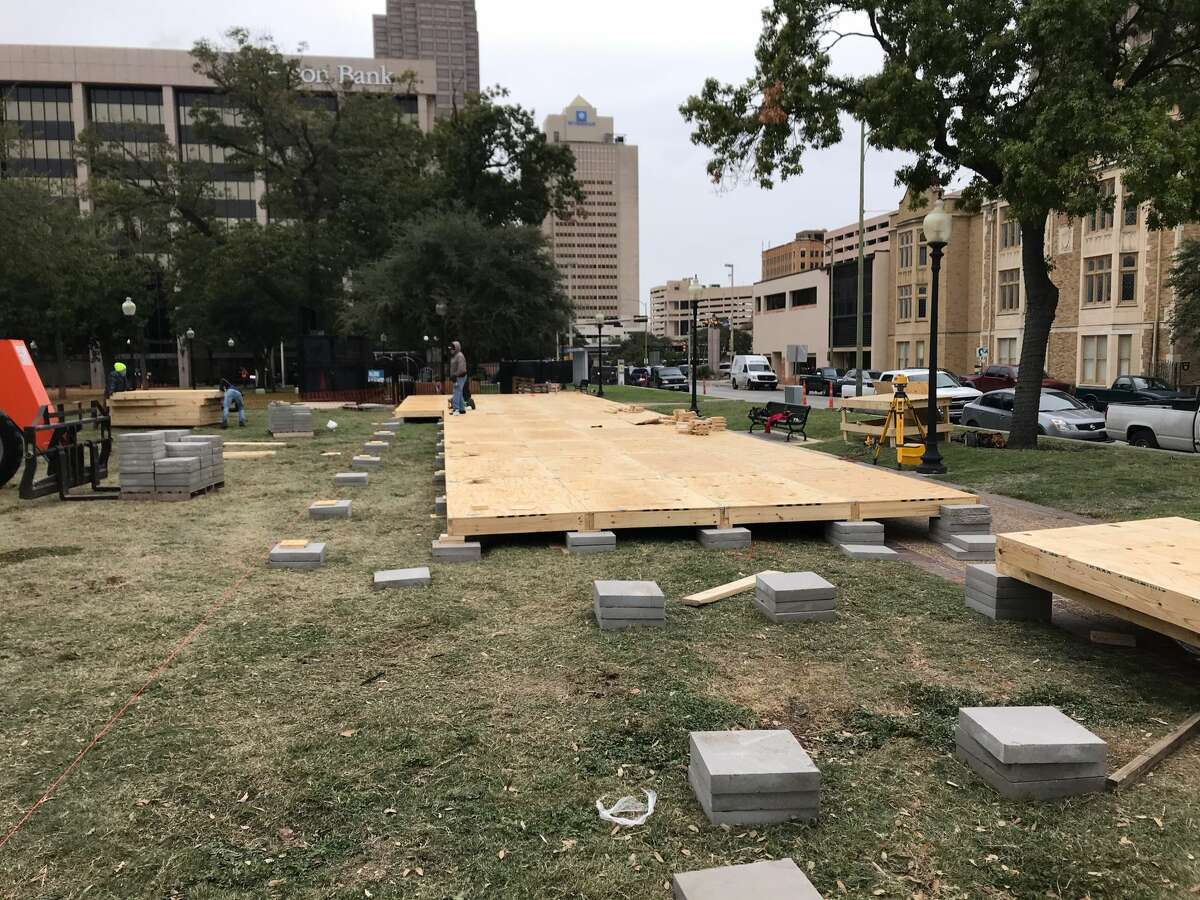 The Rotary Club of San Antonio sent mySA.com photos of the construction process of their pop-up outdoor ice skating rink at Travis Park.