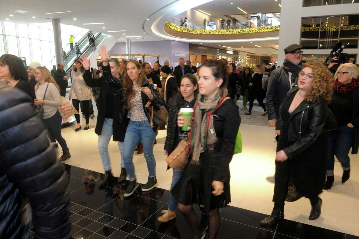 Customers enter the new Bloomingdale's for the first time at the SoNo Collection mall, in Norwalk, Conn. Nov. 14, 2019.