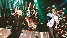 Newsboys members, from left, Peter Furler and Michael Tait perform during a concert in 2018.
