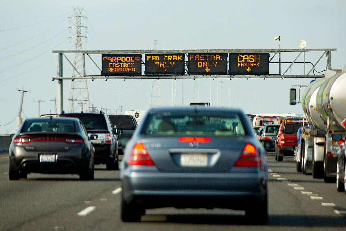 Drivers head west toward the San Mateo-Hayward Bridge on Wednesday, Nov. 13, 2019, in Hayward, Calif.