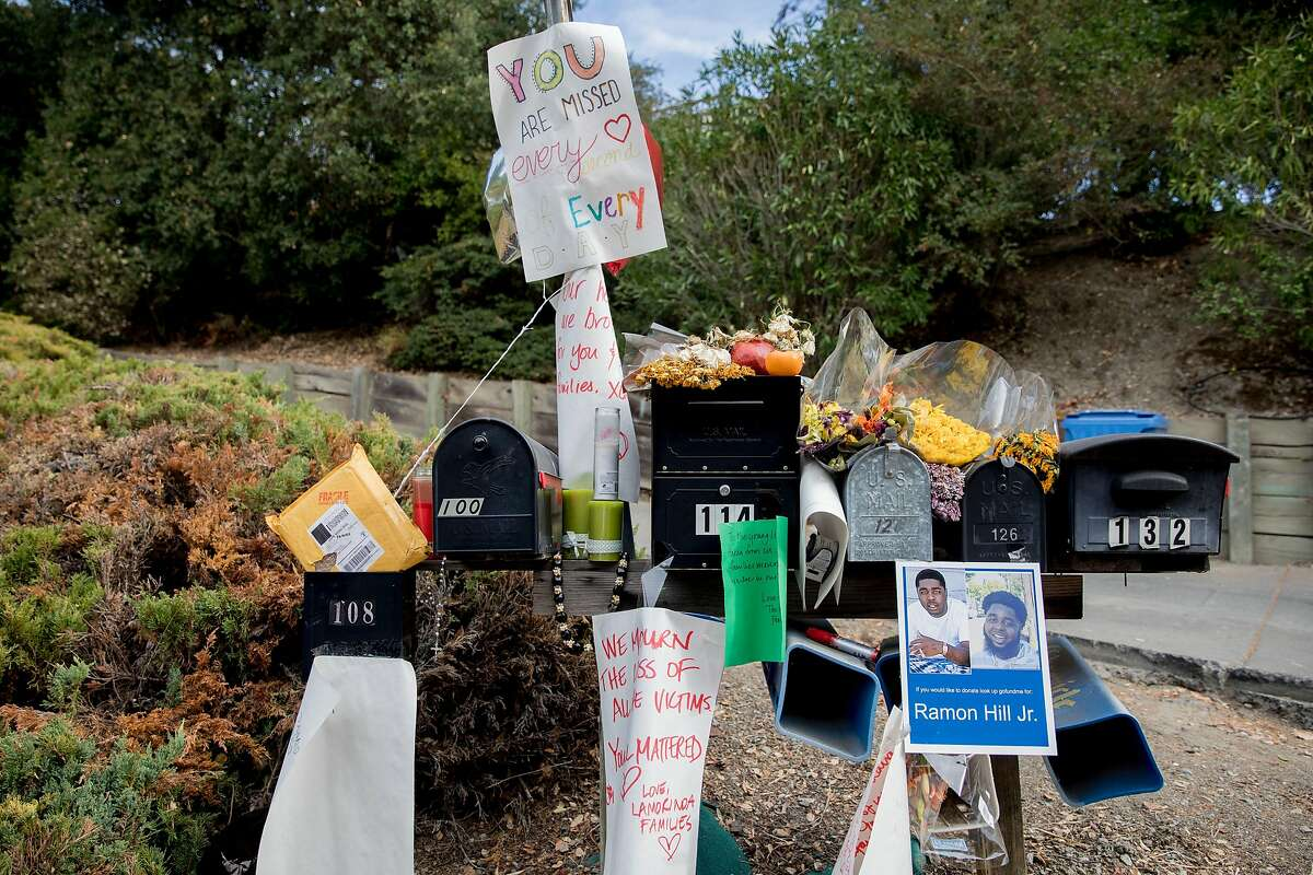 A makeshift memorial is seen outside a home in Orinda, Calif. on Nov. 13, 2019 after five were killed during a Halloween house party.