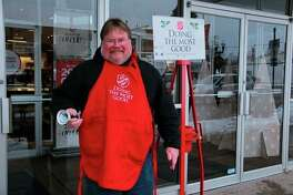 Salvation Army bell ringer Brian Carr spent his Thursday morning giving back as he stood in front of JCPenny in Big Rapids, asking locals for donations. According to Salvation Army Envoy Ed Hoskins, donations made during the red kettle campaign can provide Salvation Army with various opportunities to give back to the community, as well as those in need. (Star photo/Alicia Jaimes)