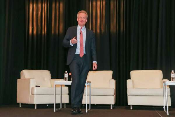 Paddy Dring of Global Head of Prime Sales, Knight Frank gives opening remarks during a panel discussion at the Post Oak Hotel, November 13, 2019 in Houston, TX.