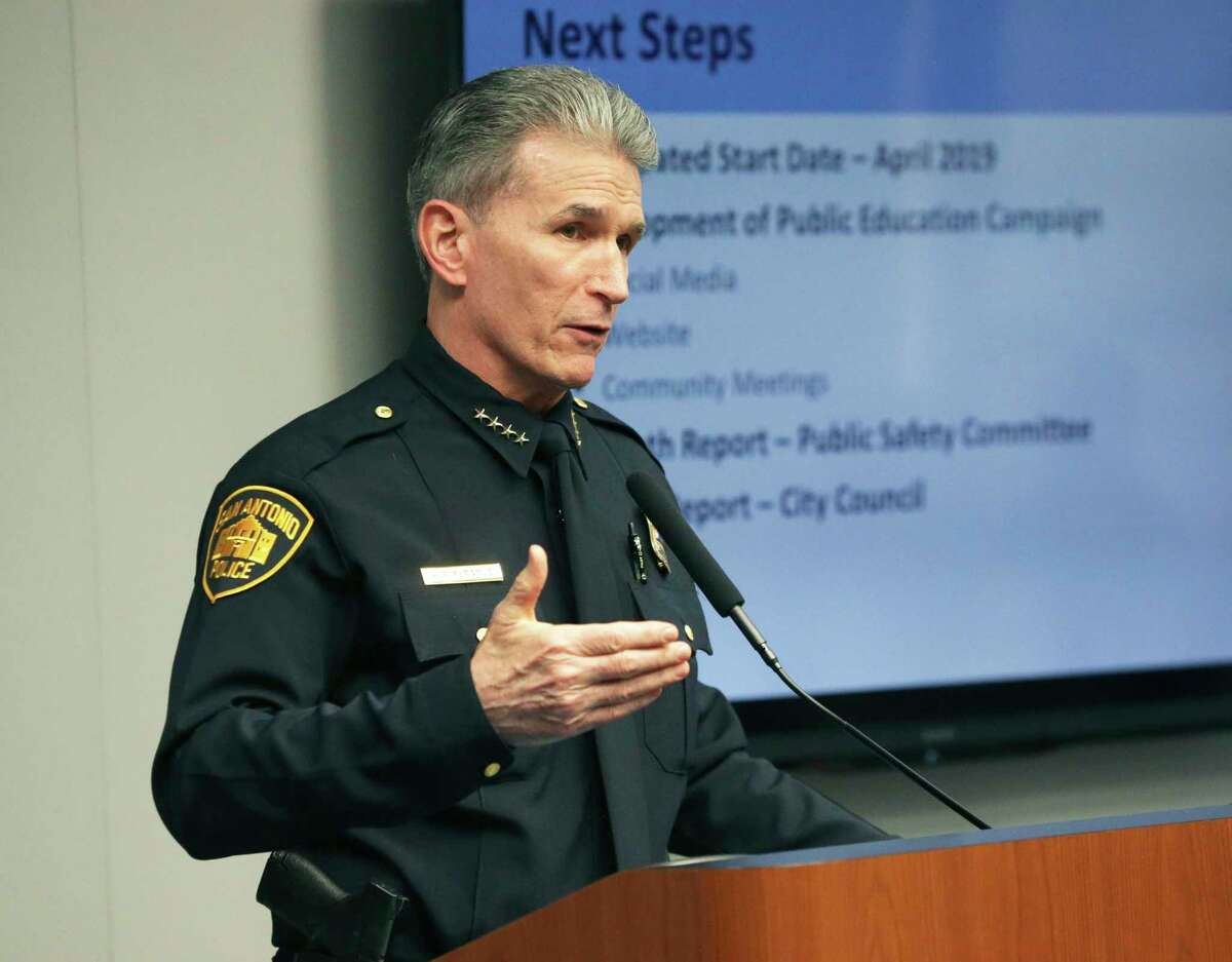 Police Chief William McManus addresses the San Antonio City Council in February 2019.