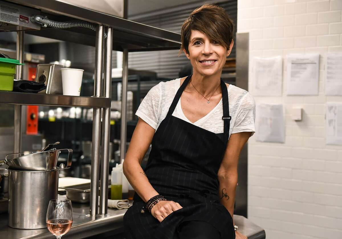 FILE - Chef Dominique Crenn attends the Food Network & Cooking Channel New York City Wine & Food Festival on Oct. 12, 2017 in New York City. Crenn announced on Thursday all three of her existing restaurants were going meatless.