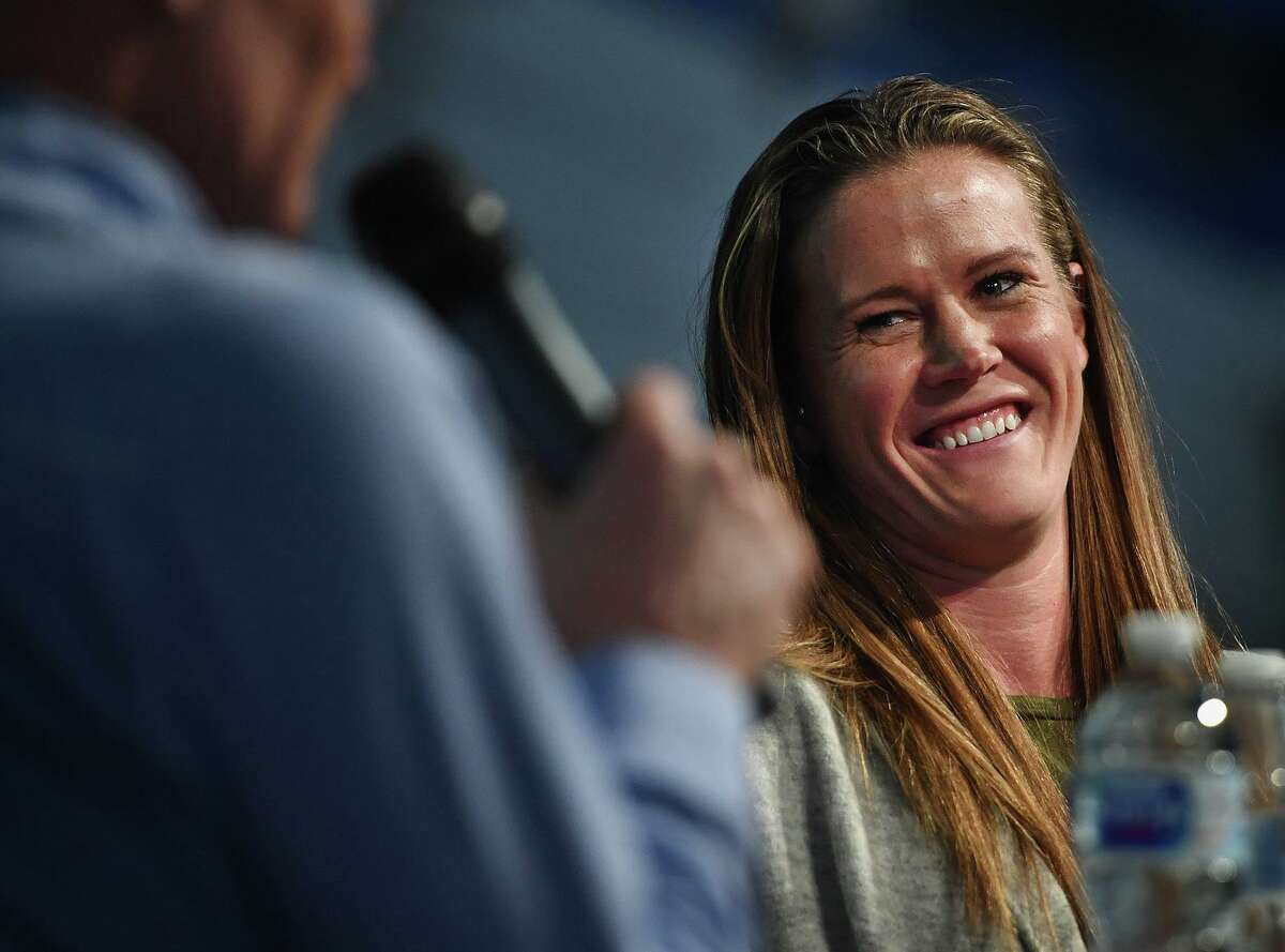 Starting goalkeeper for the United States Women's World Cup Soccer Team Alyssa Naeher is interviewed by sports interviewer Dan Patrick during a visit to her alma mater, Christian Heritage School, in Trumbull, Conn. on Thursday, November 14, 2019.