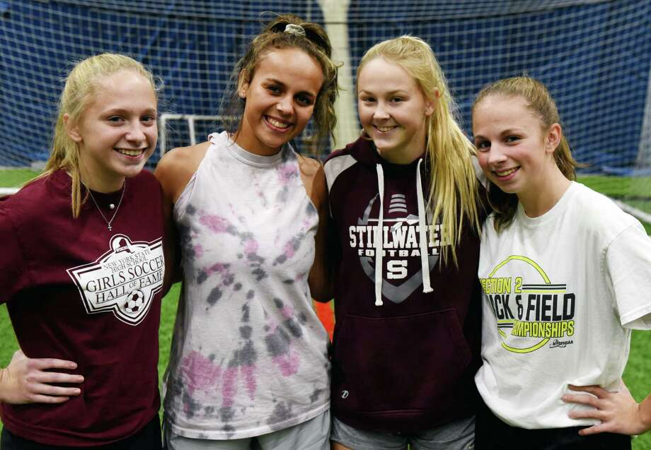 Stillwater High School girls' soccer team defenders; Kara Moran, left, Marley Mueller, Keelyn Peacock and Kelly Moran, right, are pictured on Thursday, Nov. 14, 2019, during a training session at Afrim's Colonie in Colonie, N.Y. Stillwater face Marion in a Class C state championship semifinal on Saturday at Cortland. (Will Waldron/Times Union) Photo: Will Waldron / 40048257A
