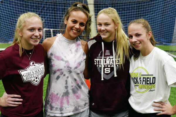 Stillwater High School girls' soccer team defenders; Kara Moran, left, Marley Mueller, Keelyn Peacock and Kelly Moran, right, are pictured on Thursday, Nov. 14, 2019, during a training session at Afrim's Colonie in Colonie, N.Y. Stillwater face Marion in a Class C state championship semifinal on Saturday at Cortland. (Will Waldron/Times Union)