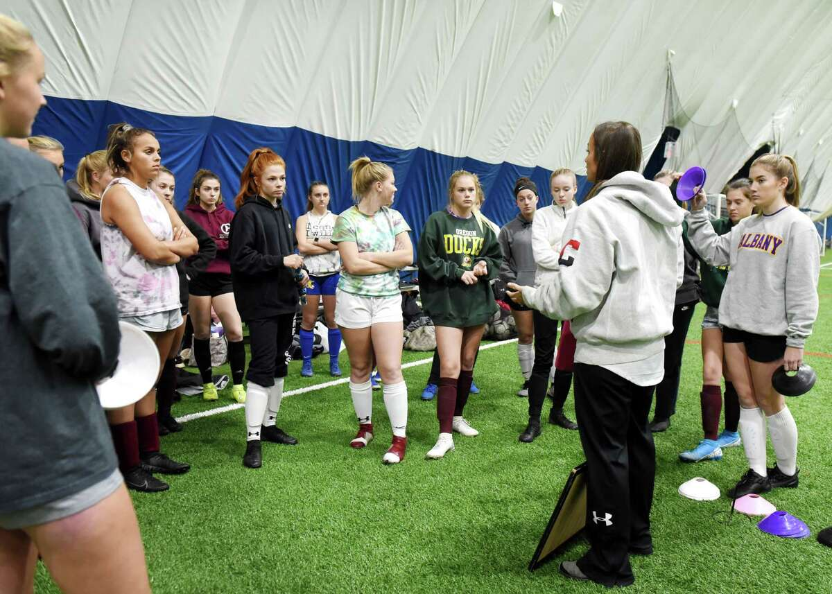 Stillwater High School girls' soccer team coach Christine Ihnatolya speaks to players during practice on Thursday, Nov. 14, 2019, at Afrim's Colonie in Colonie, N.Y. Stillwater face Marion in a Class C state championship semifinal on Saturday at Cortland. (Will Waldron/Times Union)