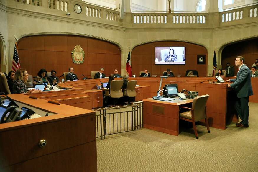 District 5 Councilwoman Shirley Gonzales, left, questions Assistant City Manager Rod Sanchez, right, as the San Antonio City Council considers a funding agreement and contract amendment on the design and construction of protected bike lanes on Avenue B and N. Alamo in City Hall chambers on Thursday, Nov. 14, 2019.