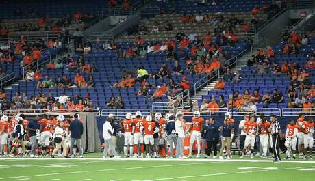 A thin crowd watches as UTSA hosts Rice at the Alamodome on Oct. 19, 2019.