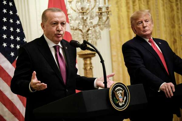 President Recep Tayyip Erdogan of Turkey and President Donald Trump hold a joint news conference at the White House in Washington, Nov. 13, 2019. Erdogan says he returned a letter sent to him last month by Trump that had implored him not to be a a€œtough guya€ or a a€œfoola€ as he embarked on an offensive against the Kurds living in northern Syria. (T.J. Kirkpatrick/The New York Times)