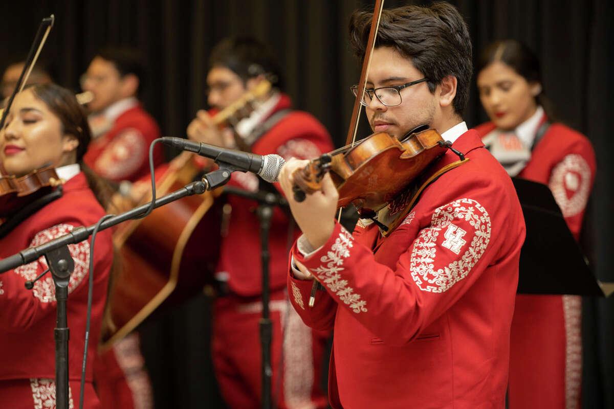 The Mariachi Pumas debuted in Bert F. Winston Band Complex in Houston, Thursday, Nov. 14, 2019. Ricardo Jimenez Montoya performing El Cascabel by Mariachi Vargas de Tecalitlán.