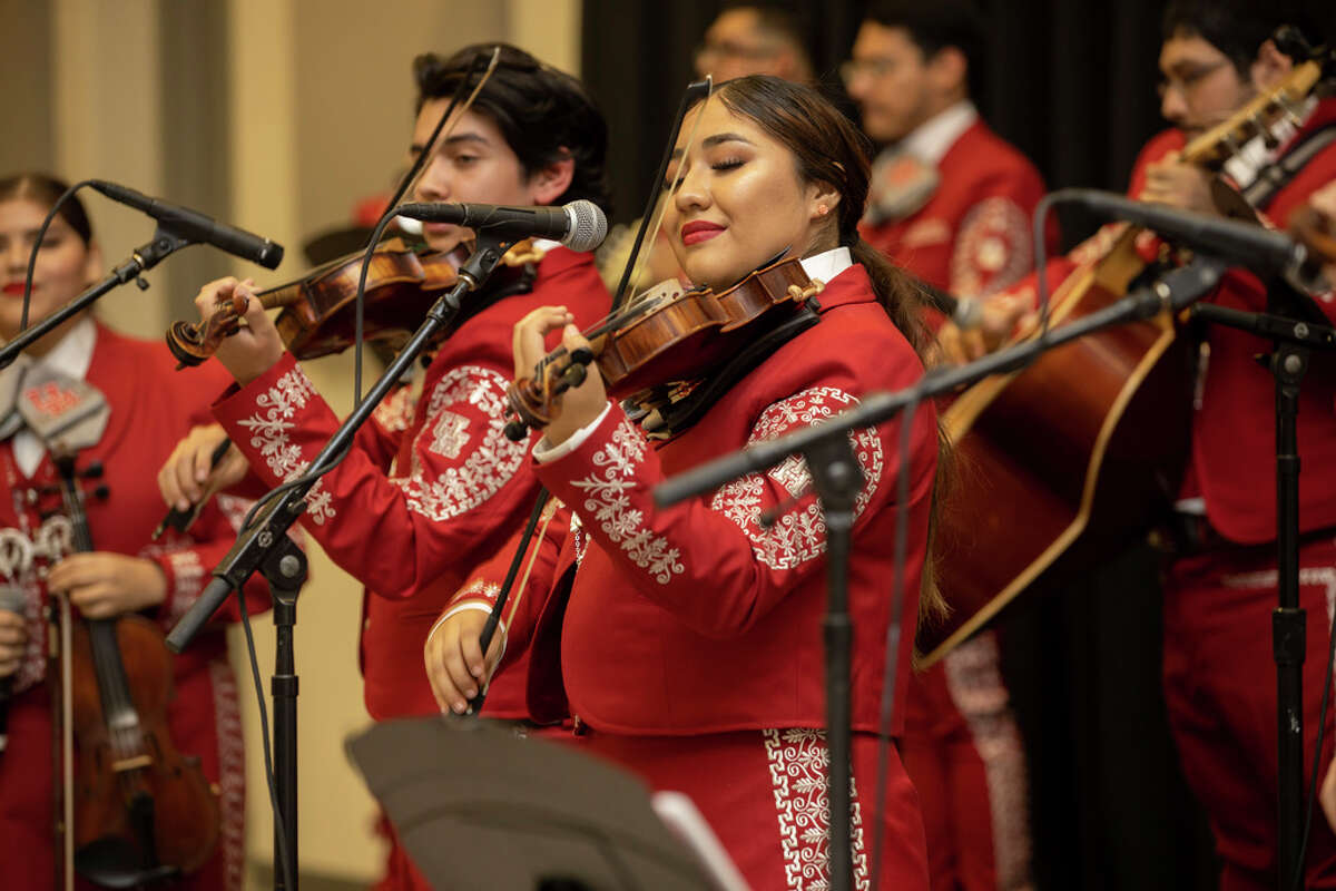 Wendy Gutierrez performing with the Mariachi Pumas in Bert F. Winston Band Complex in Houston, Thursday, Nov. 14, 2019.
