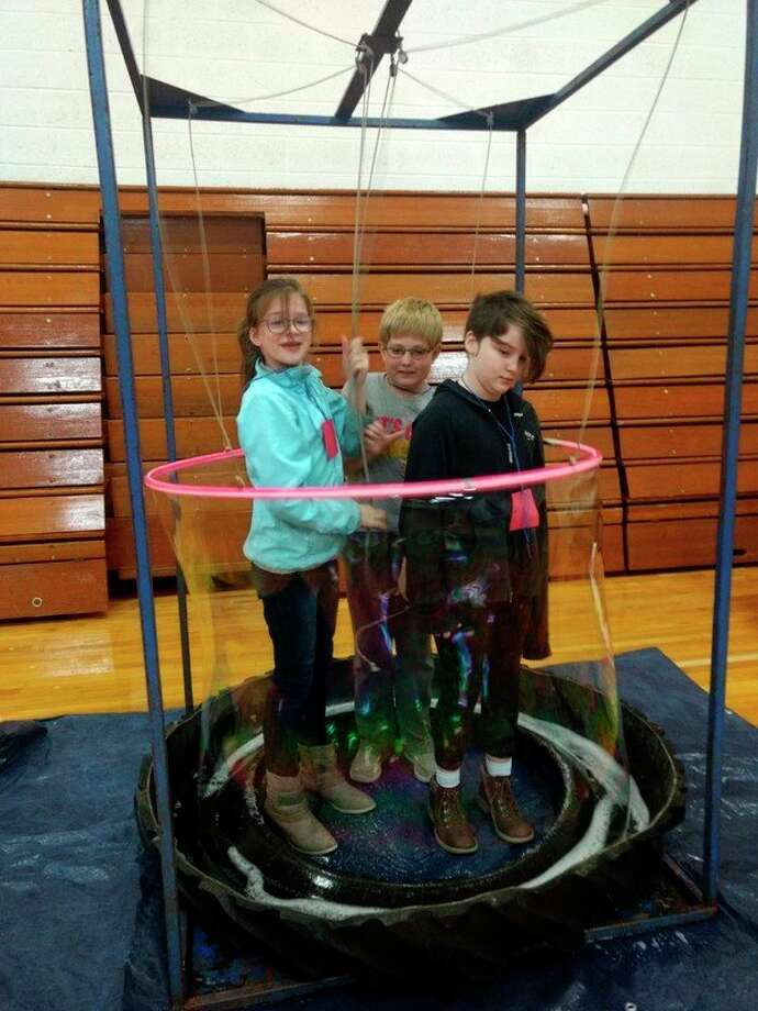 At the event, students were able to enjoy a variety of science-themed games in the gym. (Courtesy photo)
