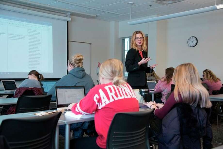 Christine Noller, SVSU assistant professor of health sciences, leads a classroom discussion on campus. (Photo provided/Tim Inman, SVSU)
