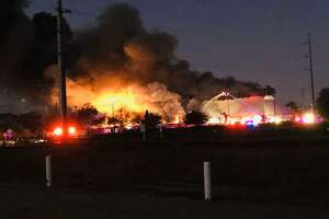 A massive fire has broken out at the Wurstfest grounds Friday morning.