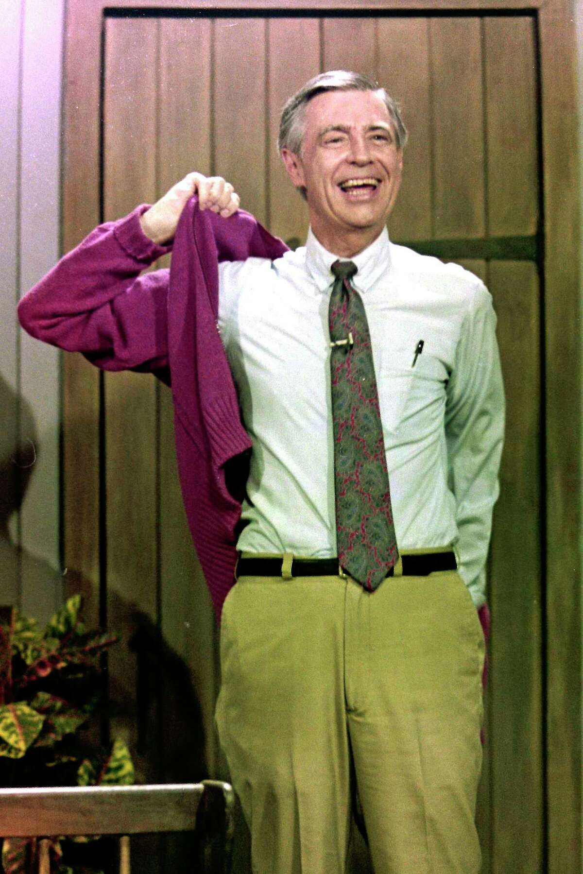 This June 8, 1993, file photo shows Fred Rogers during a rehearsal for a segment of his television program Mr. Rogers' Neighborhood in Pittsburgh.