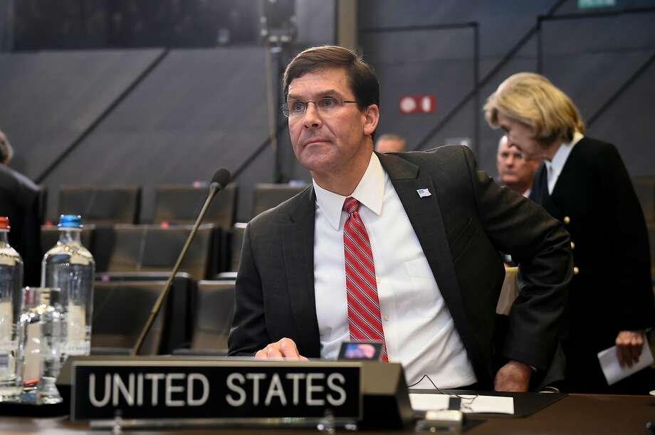 """Defense Secretary Mark Esper had recused himself from the decision to award a $10 billion cloud-computing contract to Microsoft. Amazon cites """"unmistakable bias"""" in the decision. Photo: John Thys / AFP Via Getty Images"""