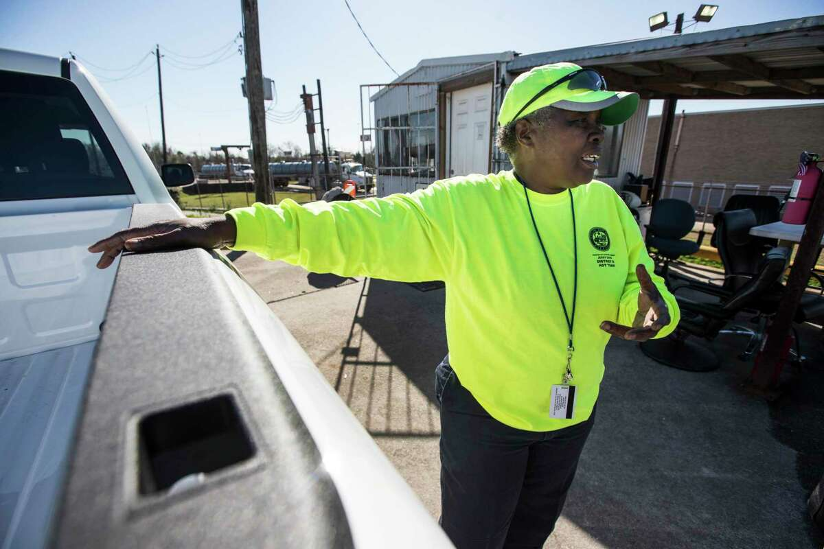 Cynthia Bailey runs her crew picking up garbage dumped in the Settegast neighborhood January 2019.