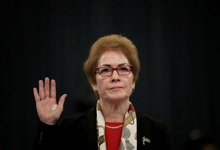 WASHINGTON, DC - NOVEMBER 15: Former U.S. Ambassador to Ukraine Marie Yovanovitch is sworn in prior to providing testimony before the House Intelligence Committee in the Longworth House Office Building on Capitol Hill November 15, 2019 in Washington, DC. In the second impeachment hearing held by the committee, House Democrats continue to build a case against U.S. President Donald Trumps efforts to link U.S. military aid for Ukraine to the nations investigation of his political rivals.  (Photo by Drew Angerer/Getty Images) Photo: Drew Angerer, Getty Images