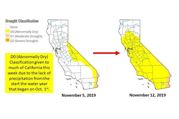 A two week comparison of drought conditions in California.