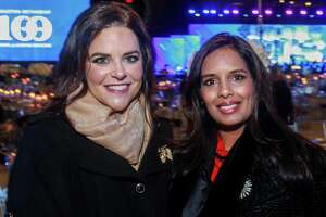 "EMBARGOED FOR SOCIETY REPORTER UNTIL NOV. 20 Ann Ayre, left, an Kusum Patel at Houston Methodist Hospital's celebration of its 100 year anniversary with the ""Rendezvous of the Century""  gala at Minute Maid Park on November 14, 2019."