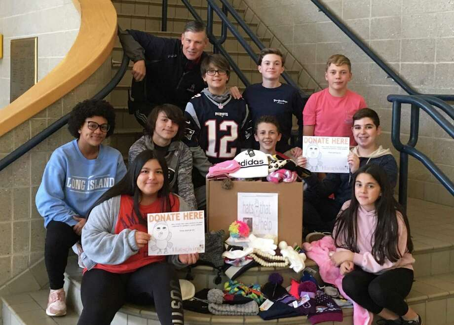 The Shelton Intermediate School Student Council donated more than 100 soft hats for juvenile cancer patients as part of Hatsgiving. Photo: Contributed Photo / Connecticut Post