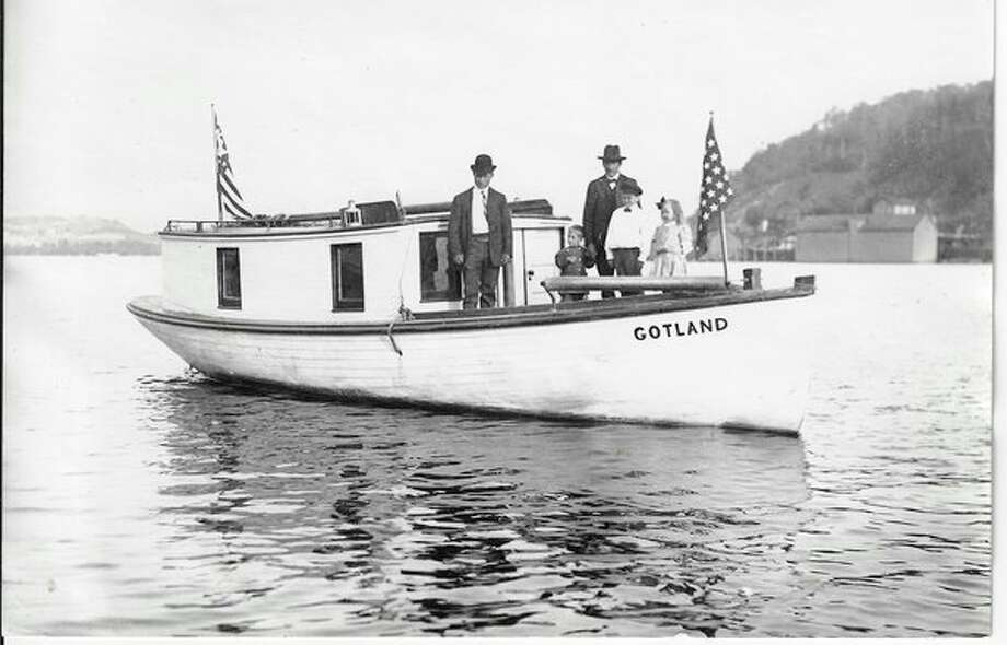 """The fish tug """"Gotland"""", owned by the Jacobson Fish Co. of Frankfort, about 1920. (Courtesy Photo/Benzie Area Historical Society)"""
